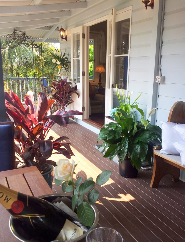 French doors lead to your accommodation in Tamborine Mountain