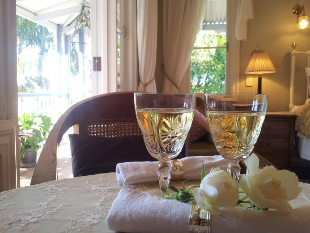 Wine for two in your accommodation at Mt Tamborine