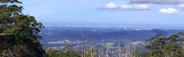 Views of the Gold Coast from Mt Tamborine near Amore B&B